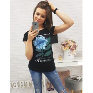 Čierne tričko pre dámy s kvetinovým motívom