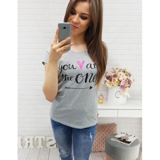 Tričko s nápisom a krátkym rukávom sivé