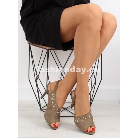 Sandále na podpätku zelené