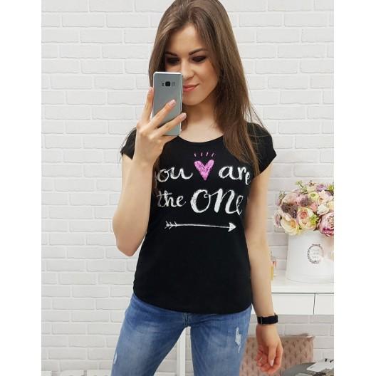 Čierne tričko s krátkym rukávom a potlačou