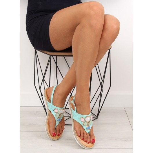 Dámske sandále nízke mätovej farby