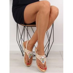 Dievčenské sandále béžovej farby
