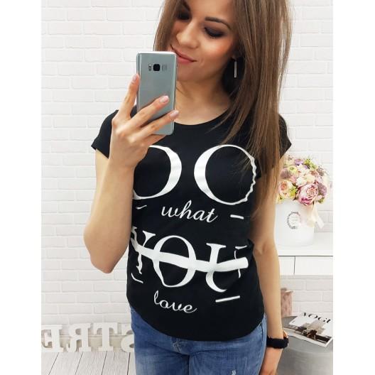 Dámske čierne tričko s krátkym rukávom