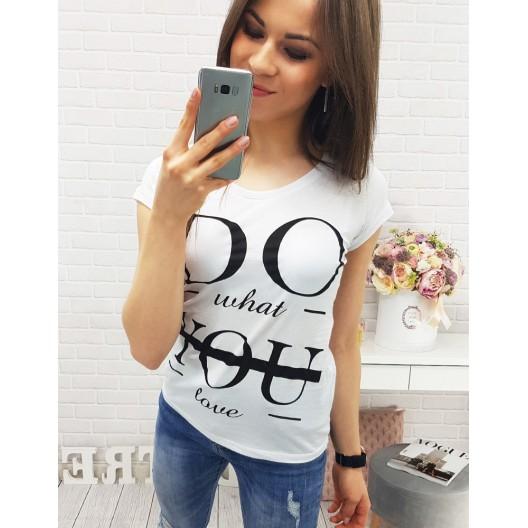 Dámske tričká s nápismi bielej farby