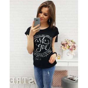 cdd12da12 Čierne tričko s krátkym rukávom a potlačou