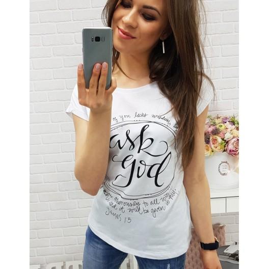 Biele dámske tričko s krátkym rukávom