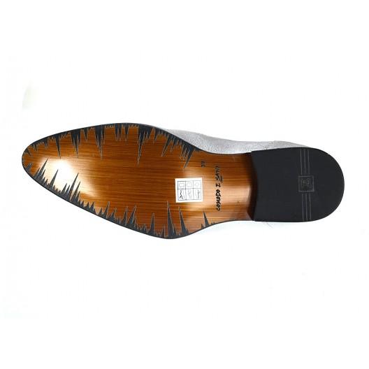 Pánske kožené extravagantné topánky strieborné ID:588