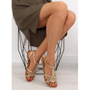 Zlaté sandále nízke pre dámy