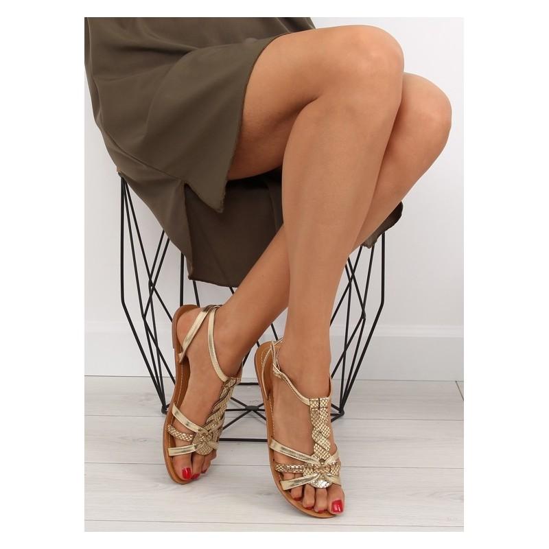 ef4c4282434c Zlaté sandále nízke pre dámy