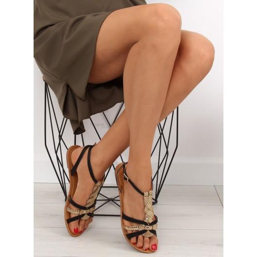 Sandále na leto čierno zlatej farby