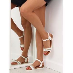 Sandále biele na nízkom podpätku
