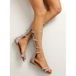 Sandále s viazaním okolo nohy sivej farby