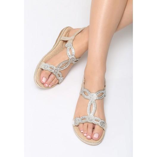 Sandálky zlaté na nízkom podpätku