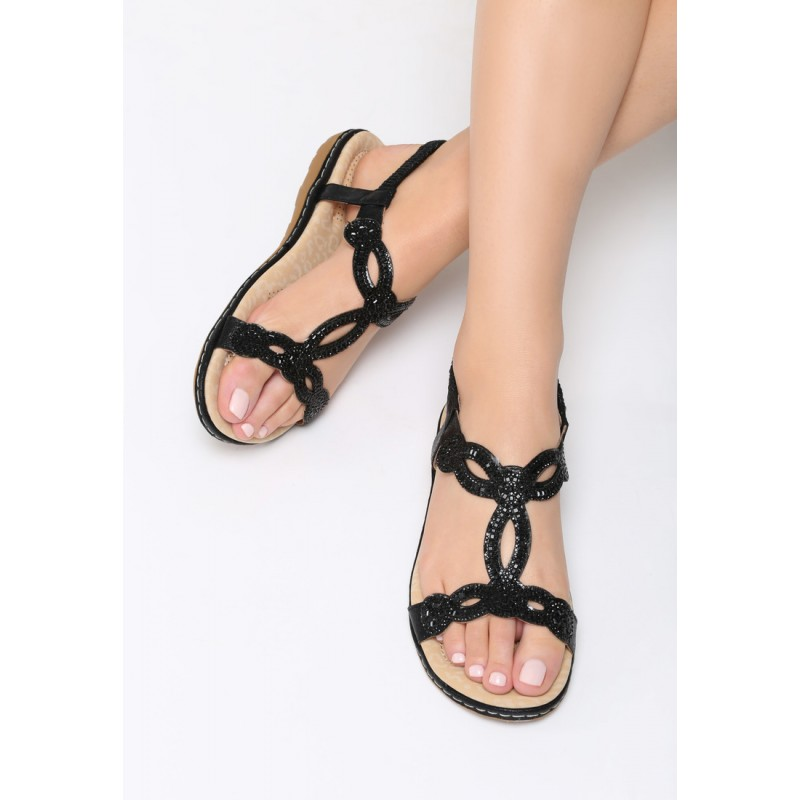 fae544a525fe Čierne sandále s kamienkami