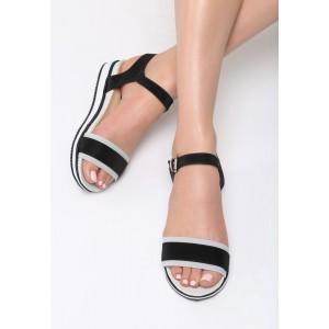 Remienkové sandále čierne na platforme