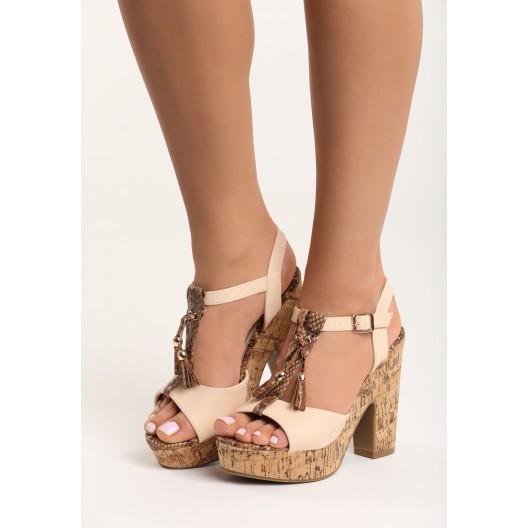 Sandále s hrubým opätkom a platformou