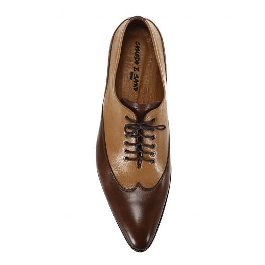 Pánske kožené extravagantné topánky hnedé ID:595