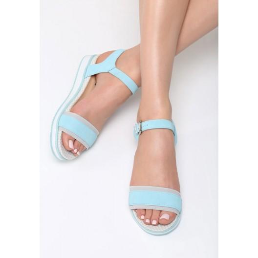 Dámske spoločenské sandále modrej farby