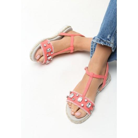 Dámske sandále s kamienkami ružovej farby