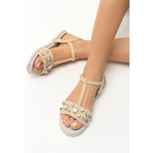 Bežové sandále s ozdobnými kamienkami