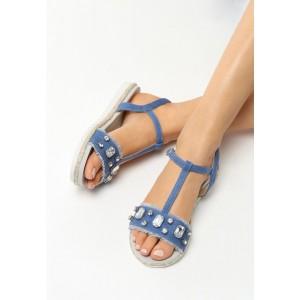 Sandálky s kamienkami tmavo modrej farby