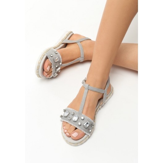 Letné sandále nízke sivej farby