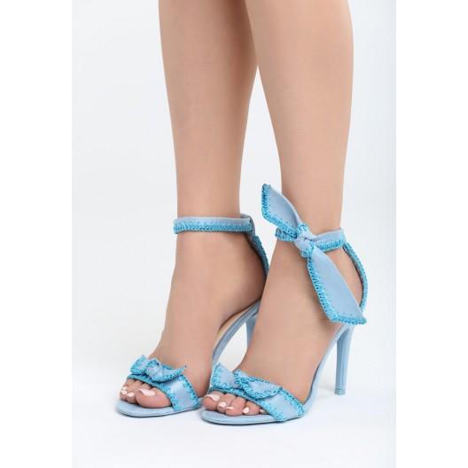 Modré sandále dámske na ihličkovom podpätku