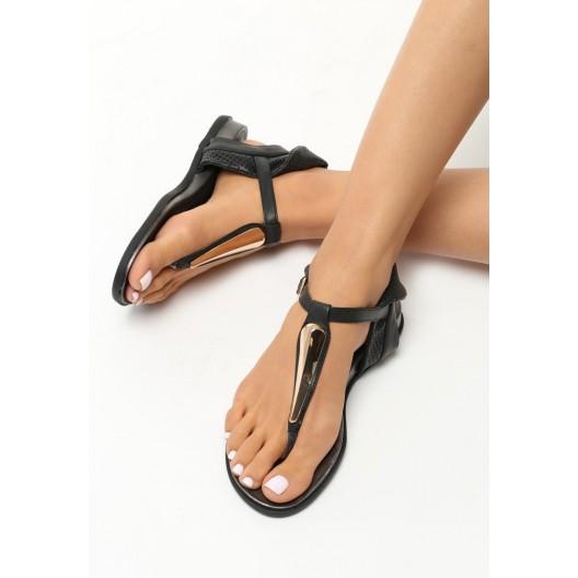 Elegantné sandále na nízkom podpätku čiernej farby