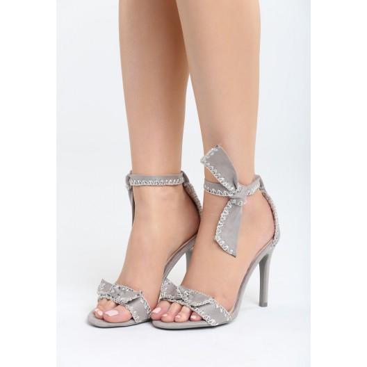 Sandále na opätku dámske sivej farby