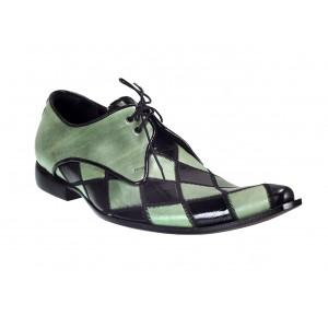 Pánske kožené extravagantné topánky zeleno-čierne