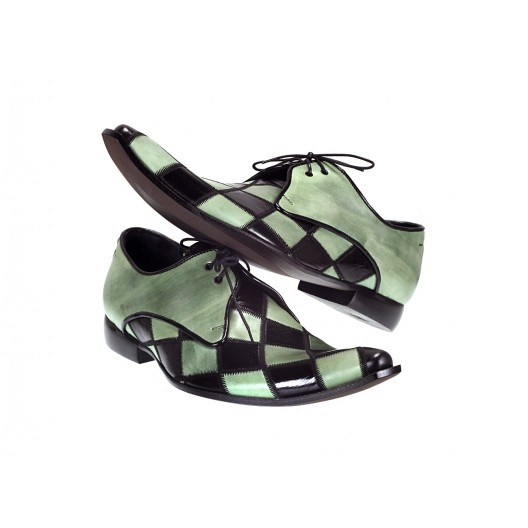 Pánske kožené extravagantné topánky zeleno-čierne ID:609