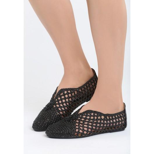 Čierne balerínky pletené