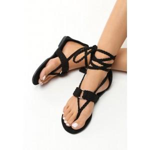 Sandále gladiátorky v čiernej farbe