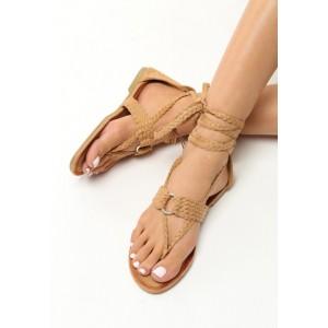 Hnedé sandále so šnúrovaním