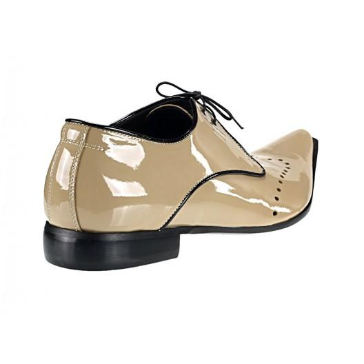 Pánske kožené extravagantné topánky béžové PT051