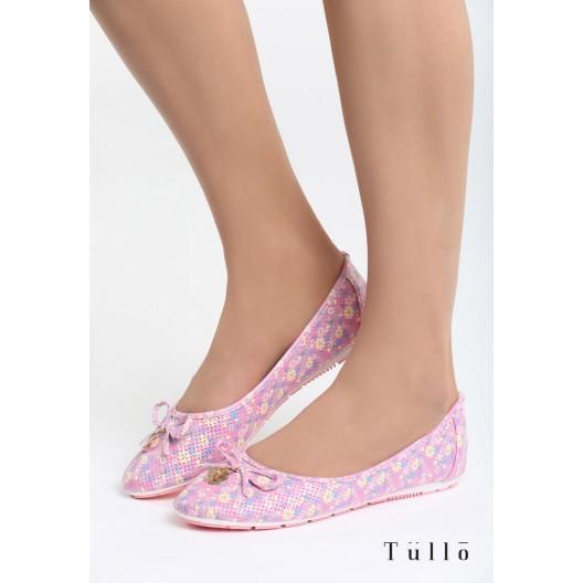 Dievčenské balerínky ružové s ozdobou
