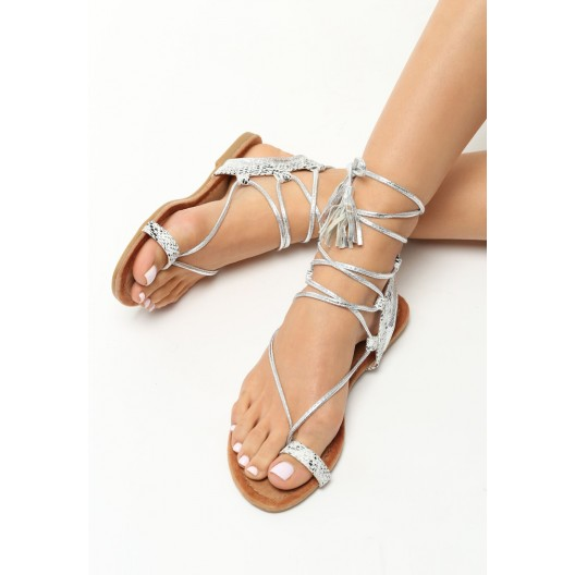 Strieborné sandále gladiátorky na leto