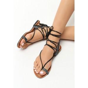 Čierne sandále gladiátorky