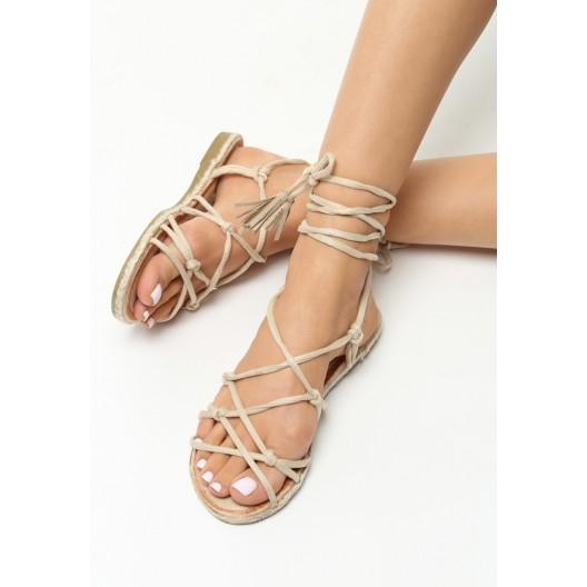 Sandále na šnúrovanie béžové