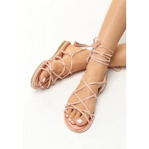 Gladiátorky sandále ružové s tenkou podrážkou