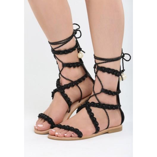 Čierne sandále gladiátorky na leto
