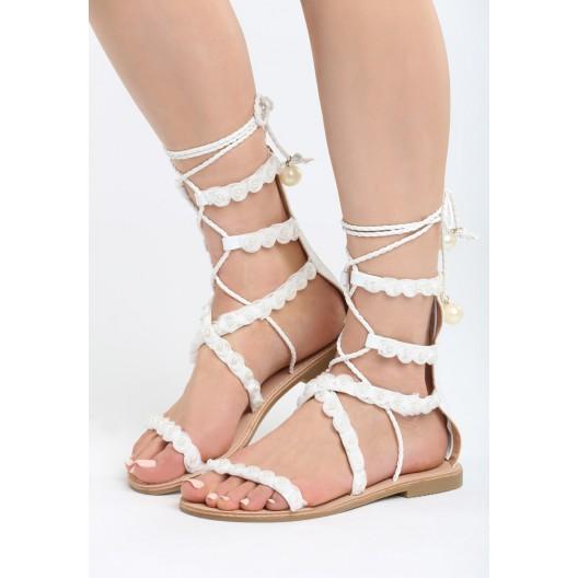 Gladiátorky topánky na leto bielej farby