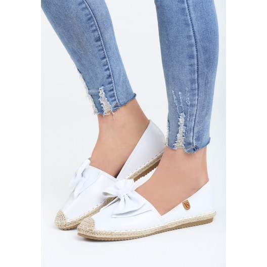 Letná dámska obuv v bielej farbe s mašľou