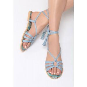 Sandále na šnúrovanie modrej farby pre dámy
