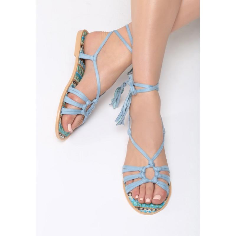 dd15c5631374e Sandále na šnúrovanie modrej farby pre dámy