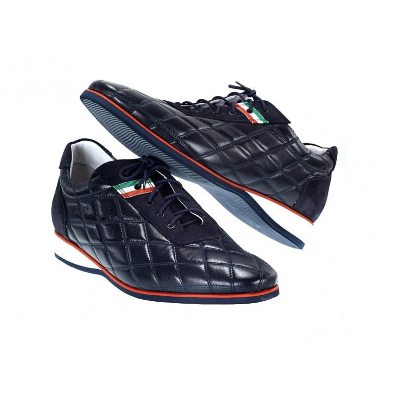 63f43d63a43b Pánske kožené športové topánky modré - fashionday.eu