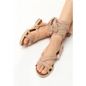 Sandále gladiátorky v hnedej farbe