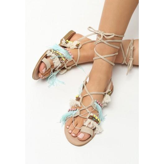 Farebné sandále s viazaním