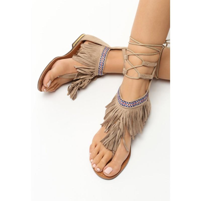 280036f2a6f4 Pohodlné sandále na šnúrovanie béžové