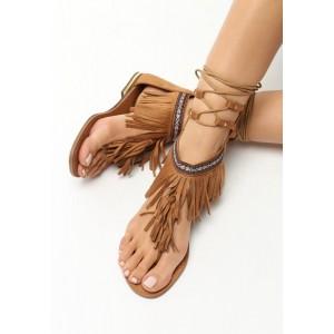 Letné sandále so šnúrkami hnedej farby
